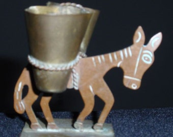 Copper and Brass Mule Sculpture toothpick holder