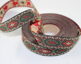 18 mm Dark Green Woven Jacquard ribbon (0.70 inches) - jacquard trim - Decorative Craft Ribbon - Sewing trim - trim - embroidered ribbon