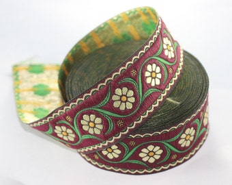 35 mm colorful Floral Embroidered ribbon (1.37 inches) -  Vintage Jacquard - Floral ribbon - Floral trim - woven jacquard - jacquard ribbons