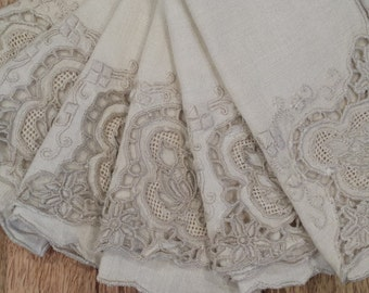 Vintage Linen Lucheon Napkins Beige Qty. 6