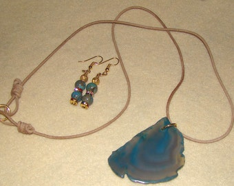 Blue Agate Pendant with Stone Bead Earring Set