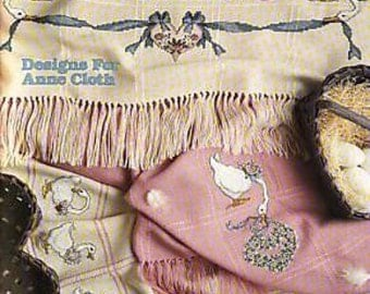 "Adorable Geese Counted Cross Stitch Designs From Leisure Arts From 1989. ""Gertrude's Afghans"" Shown Here For Anne Cloth."