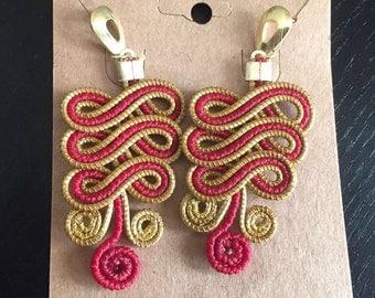 Pink Golden Grass Earrings