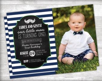 Little Man First Birthday Photo Invitation Printable