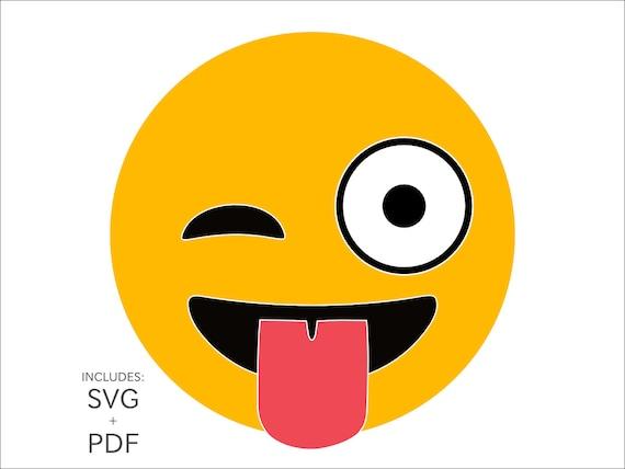 Cuttable Emoji Svg Crazy Eyes And Tongue Emoticon Funny