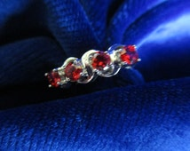 Garnet Cubic Zirconium Hand Crafted 925 Sterling Silver Ring - Ring Size N