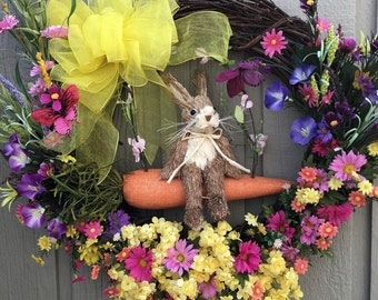Summer Wreath, Spring Easter Wreath with Rabbit, Deco Mesh Wreaths, Easter Wreath, Spring Wreath
