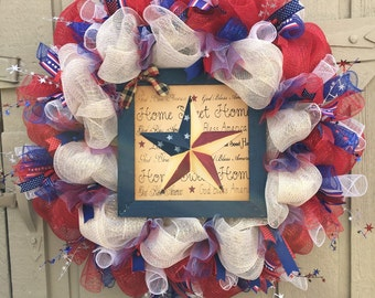 July fourth, Patriotic Wreath, 4th of July Deco Mesh Wreath, Patriotic wall decor, deco mesh wreath, front door wreath, outside door wreath