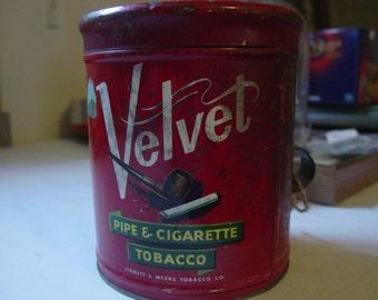 Vintage Velvet Tobacco Tin 1940's