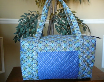 Quilted Duffel in Blue and Green