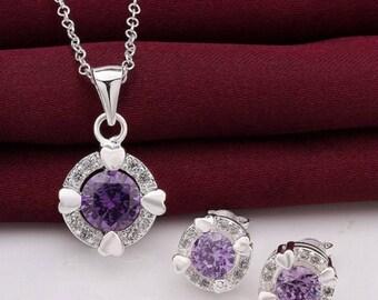 purple stone silver set