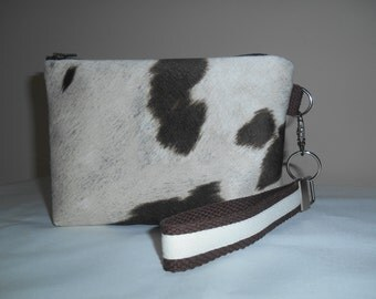 Brown and tan mock ' cowhide' wristlet with coordinating detachable key fob