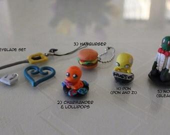 Assorted Polymer Clay - Keyblade, Charmander, Hamburger, Pon (Pon and Zi), Noba (Bleach)
