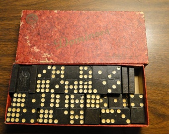 "Antique Dominoes Set W/ Original Box - Statue Of Liberty Dominoes - Wooden - Box Measures 4 1/8"" X 9 3/4"" - Great Old Set!"