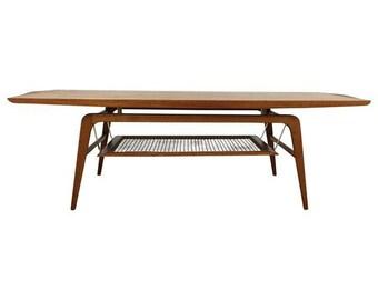 Teak & Brass Floating Coffee Table