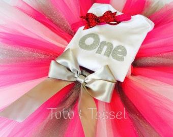 Tutuset/silver and pink tutu set/my firstbirthdaytutuset/