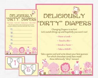 Safari Baby Shower, Dirty Diaper Game, Guess the Sweet Mess Game Girl, Candy Bar Game, Safari Baby Shower Games, Pink Safari, BS0001-P