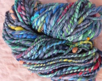 Handspun merino art yarn - Long-awaited spring