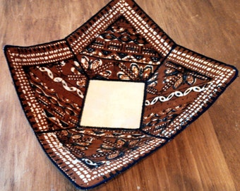 Reversable, Handmade Fabric Bowl. Indian pattern and Green Floral Pattern
