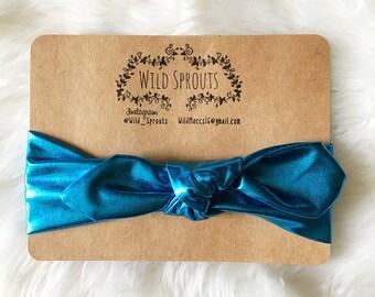 Blue Metallic head wrap