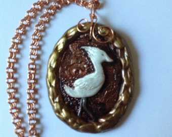 Snowy egret necklace in polymer clay