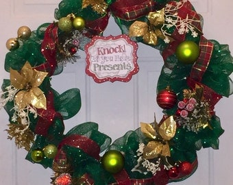 Knock If You Have Presents - Christmas Holiday Wreath