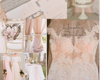 French Lace rosette fishtail Wedding Dress