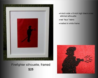 Firefighter Cross Stitch Silhouette