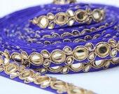 Sari Lace Trim,Cobalt Blue and Gold with Rhinestone, Indian Saree Trim, Sari Border Trim,Indian Salwar Kameez,Formal Wear,1 Yard, Saree Trim