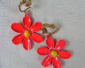 Vintage 1960s Flower Earrings 60s Bright Orange Enamel Clip Earrings