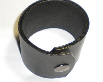 "Black Leather Wristband Cuff Bracelet 2"" Wide"