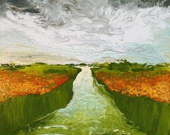 FIELD OF FLOWERS, original abstract painting, acrylic art, abstract art, home decor