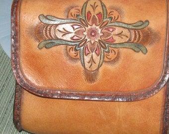 Hand Tooled  Leather Belt Bag