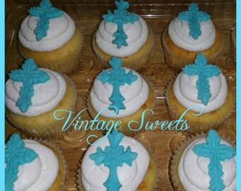 1 dozen Cross Fondant Cupcake Toppers.