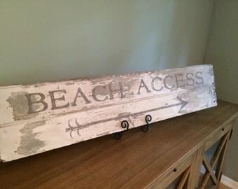 "Salvaged Sign ""Beach Access"" on salvaged wood"