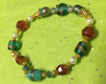 Brown Accent Beaded Bracelet