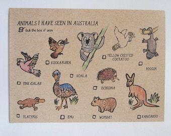 Animals I have seen in Australia Postcard