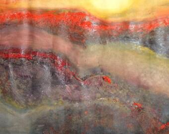 Vintage large modernist landscape oil painting