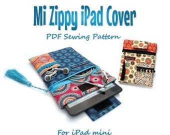 iPad mini cover PDF pattern. Mi Zippy iPad cover. For iPad mini. PDF download. Tablet case sewing pattern and tutorial #
