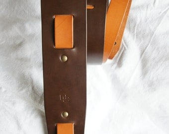 "handmade leather guitar strap made in France Urban Cam "" The 605 chocolate/whisky """