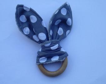 Organic Teething Toy,Grey Dot Teething Toy,Wood Ring Teether,Baby Shower Gift