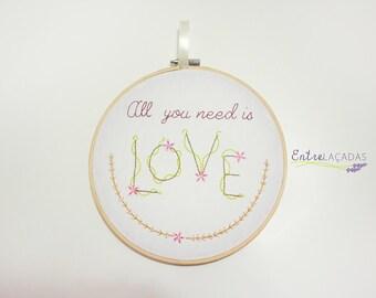 Love Embroidery Hoop Art / Handmade / Embroidered Wall Art