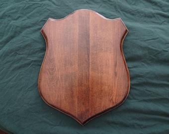 Hardwood Classic crest shield plaques for antlers, mounts, European mounts.  Solid Maple, Oak, Walnut