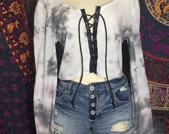 Cropped tie dye lace up long sleeve top