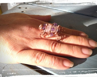 Copper cocktail ring with Rose Quartz and Amethysts
