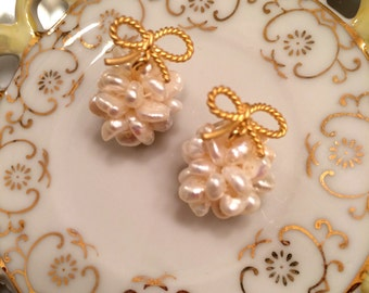 Pearl Bow Clusters, Coco Chanel Earrings, Pearl Earrings, Beaded Earrings, Tassel Earrings, Tassle Earrings