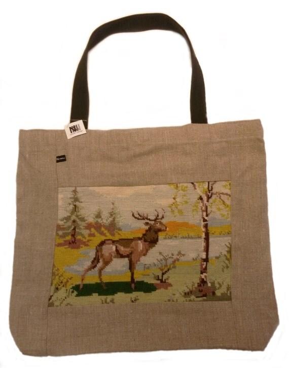 Linen handbag/shopping bag/shoulder bag with vintage handmade embroidery