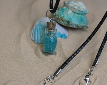 Vial pendant. Shine turquoise, with real black leather chain. Messege bottle. Small vial necklace.