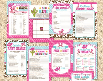 Cowgirl Baby Shower Games, Cowgirl Printable Baby Shower Game Girl, Words  Of Wisdom Cards