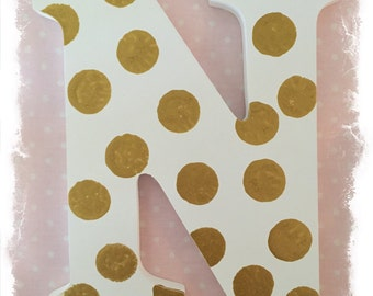 """Decorated Monogram Wood Letter """"N"""" Can order any custom letter or word"""